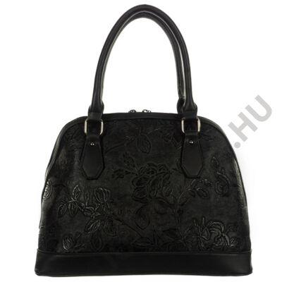Deda A508-2 fekete nyomott virág mintás műbőr kézi táska eleje