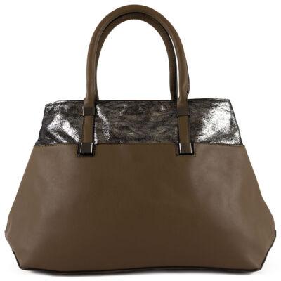 US barna-ezüst kombinált kézi fogós női táska eleje