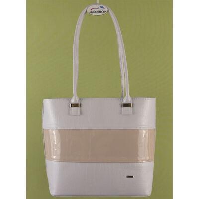 Fehér-pink csíkos VIA táska