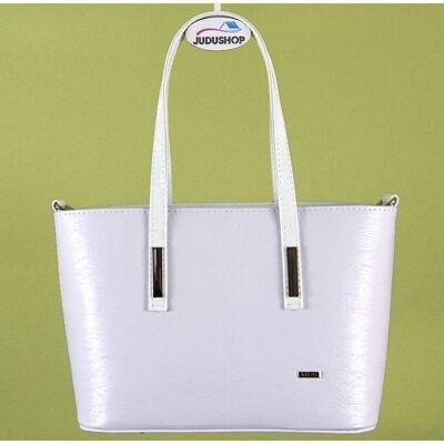 Fehér kis méretű, lakkos fogós női táska eleje
