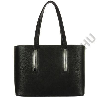 Chiara 3 részes fekete rostbőr női táska eleje M800