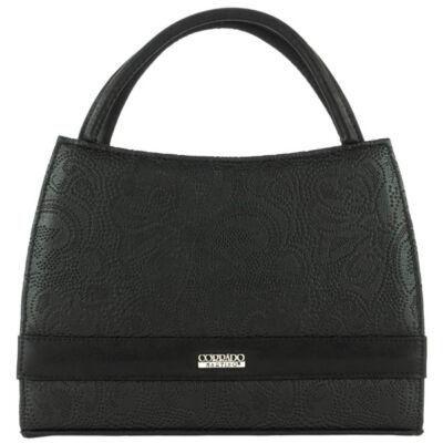 Corrado Martino Basia csipke nyomott  mintás fekete rostbőr női táska eleje