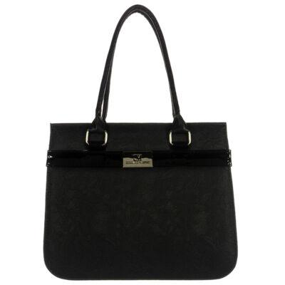 Corrado M ERYKA virágmintás fekete női rostbőr táska eleje