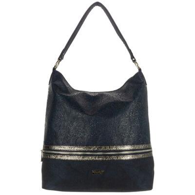 Corrado Martino Iwona csipke mintás kék rostbőr női táska ezüst csíkkal eleje