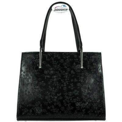Karen fekete virágmintás kézi fogós női rostbőr táska eleje 1473 ANNA