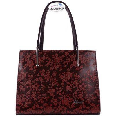 Karen fekete-bordó kombinált kézi fogós rostbőr női táska eleje 1473 ANNA
