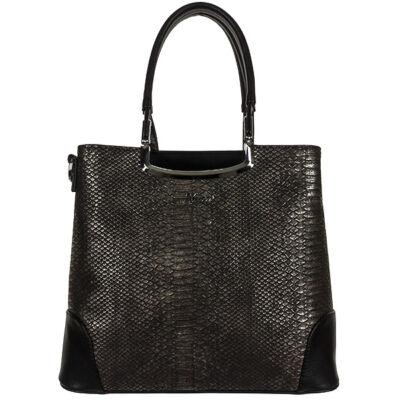 Karen fekete kígyó mintás női rostbőr táska eleje 1491 DELIA