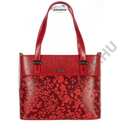 Karen piros virágmintás kézi fogós női rostbőr táska eleje 2247