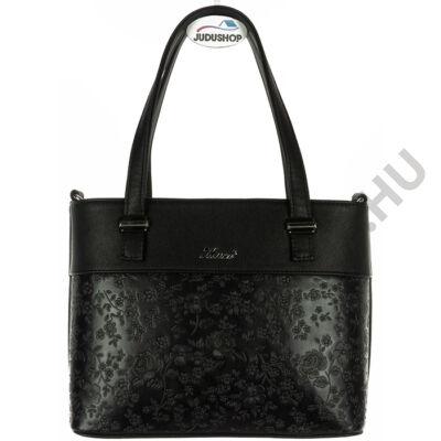 Karen fekete virágmintás kézi fogós női rostbőr táska eleje 2247 AGDA