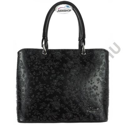 Karen virágmintás, fekete kézi fogós női rostbőr táska eleje 2254 SARA