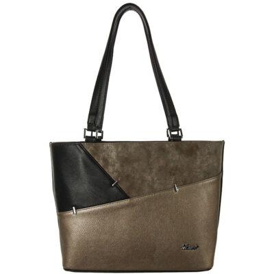 Karen fekete-bronz-barna színű rostbőr női táska eleje 9283 EMILIA