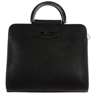Karen fémmel kombinált kézi fogójú fekete női rostbőr táska eleje N165