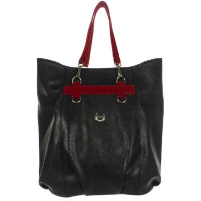 VIA 55 nagy méretű, bordó fogós, fekete rostbőr táska eleje 1365