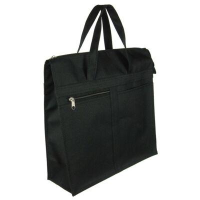 Elöl két zsebes fekete bevásárló táska