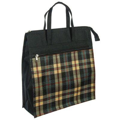 Barna kockás fekete bevásárló táska