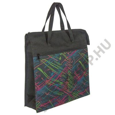 Színes mintás fekete bevásárló táska