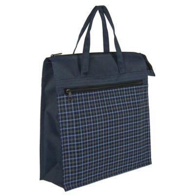 Kék apró kockás bevásárló táska