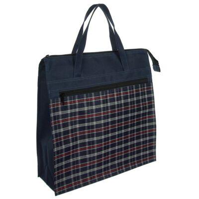 Kék kockás bevásárló táska