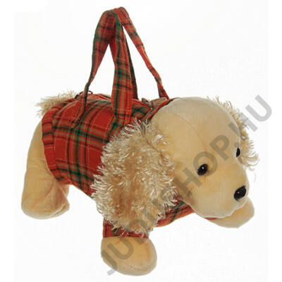 Kockás ruhás plüss kutya táska