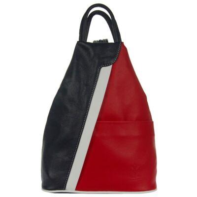 Összecipzározható pántos piros-kék bőr hátizsák