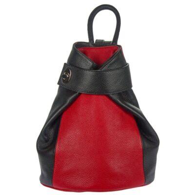 Pántos fekete-piros bőr hátizsák