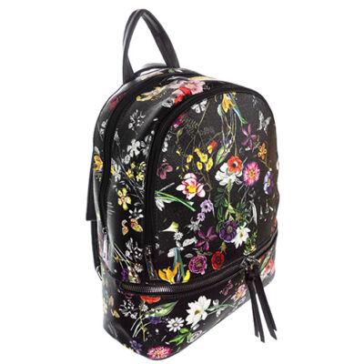 6228 virágmintás fekete hátizsák