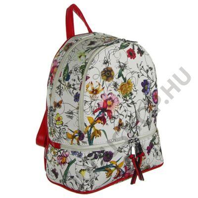 Urban a172 virágos, piros fogós fehér hátizsák