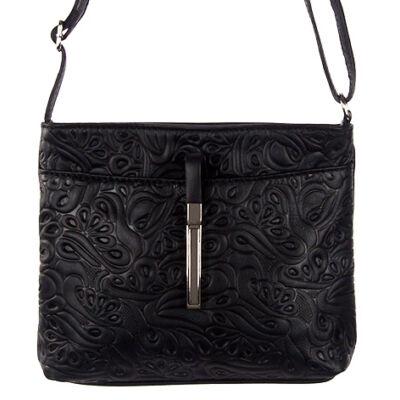 Kicsi nyomott mintás dugzáras fekete bőr női táska