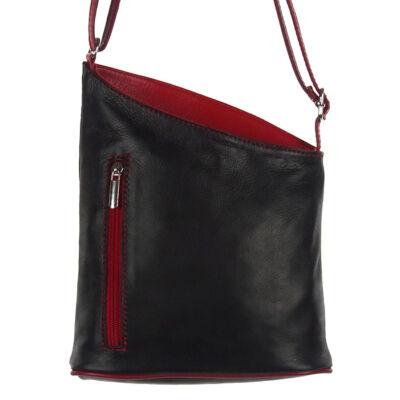 Ferde tetejű fekete-piros bőr női táska