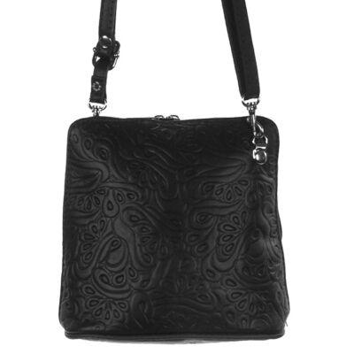 Kicsi nyomott mintás fekete bőr női táska