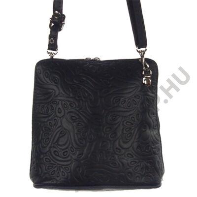 Kicsi nyomott mintás sötétkék bőr női táska