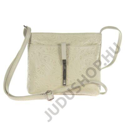 Kicsi nyomott mintás dugzáras drapp bőr női táska