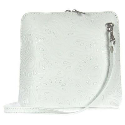 Kicsi nyomott mintás fehér bőr női táska