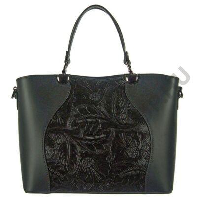 Kombinált anyagú fekete női bőr táska