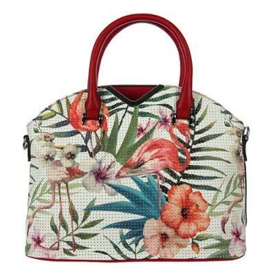 98610-7 flamingós fehér-piros női táska