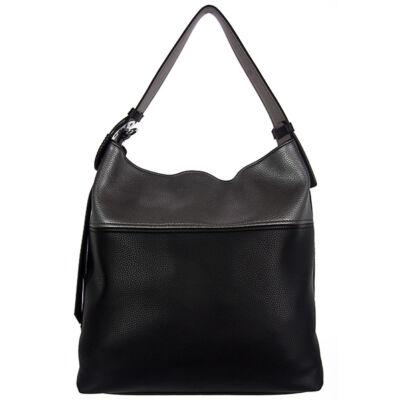 MC445 fekete-ezüst műbőr női táska eleje