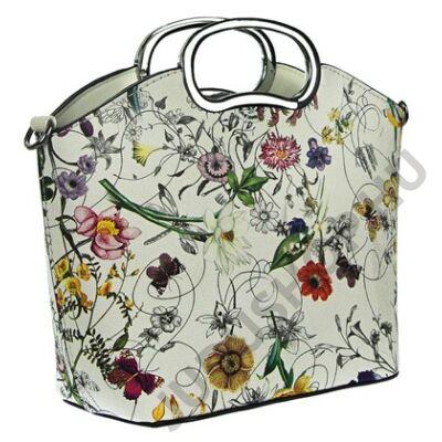 A 6026 hl virágmintás fehér női táska