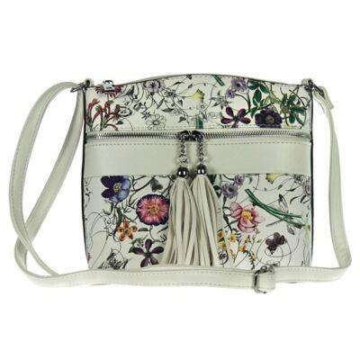 A 9195 hl virágos fehér műbőr női táska