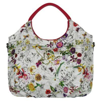 Sara Moda 6232 virágmintás fehér női táska