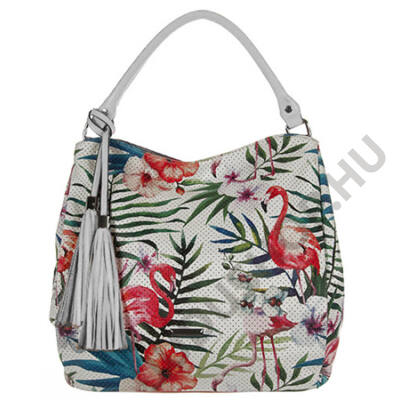 SilviaRosa 6401 fehér flamingós műbőr táska