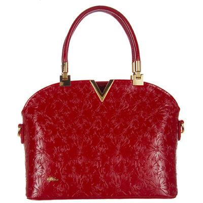 Díva 526-2 piros viragos női táska