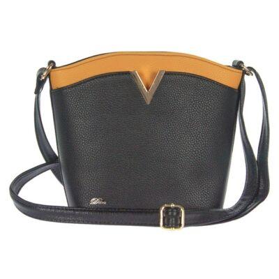 Díva 535 fekete-sárga rostbőr táska