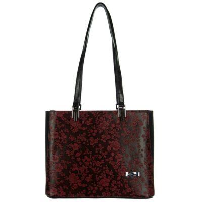 Karen 2265 bis bordó-fekete virágos rostbőr táska