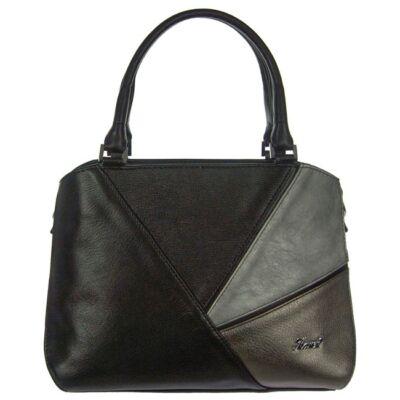 Karen 2305 fekete-ezüst-bronz rostbőr női táska