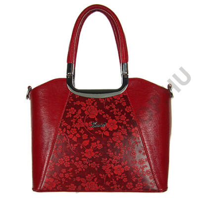 Karen 9251 bis piros virágos rostbőr táska