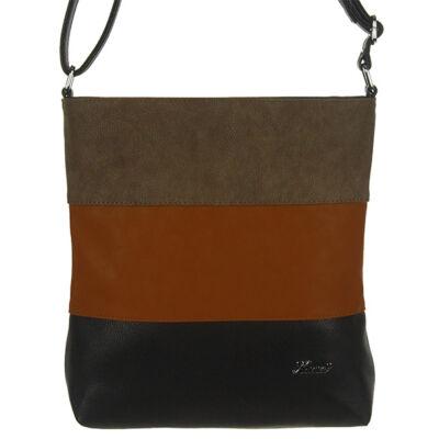 Karen fekete-csau-kávé csíkos, női táska N099 BETI