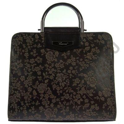 Karen n165 sötétbarna virágmintás női rostbőr táska