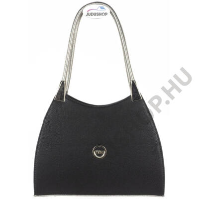 VIA 55-1363 fekete-ezust kombinált női válltáska eleje