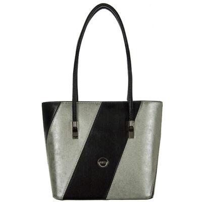 VIA55 1411-fekete-ezüst rostbőr táska