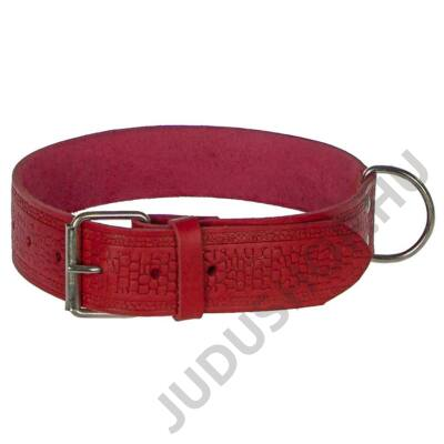 4 cm széles piros pikkely mintás bőr nyakörv